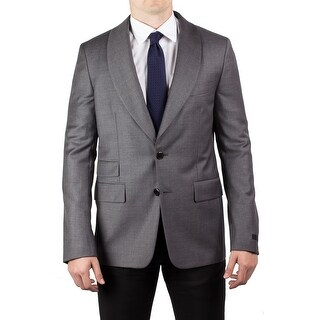 Prada Men's Virgin Wool Shawl Lapel Suit Sport Jacket Coat Blazer Grey