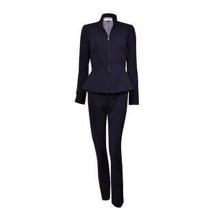 Tahari Women's Henry NYC Glamour Zip Pant Suit (8, Navy) - 2