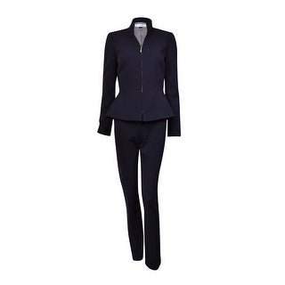 Tahari Women's Henry NYC Glamour Zip Pant Suit (8, Navy)