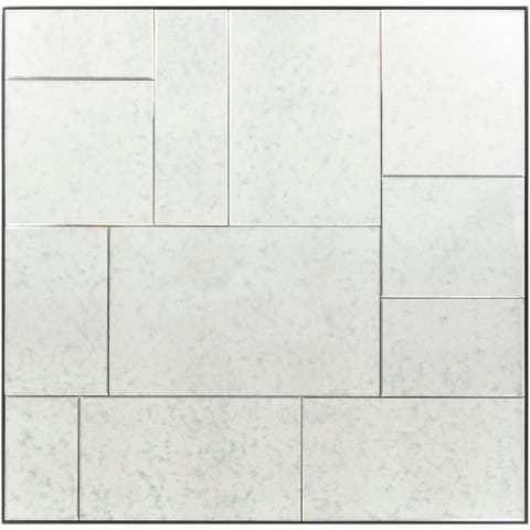 """Jayla Antiqued Tile Contemporary Wall Mirror - 42"""" x 42"""""""
