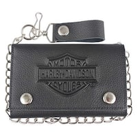 "Harley-Davidson Men's B&S Embossed Trucker Tri-Fold Plus Wallet XML3514-BLACK - 5.75"" x 3.75"""