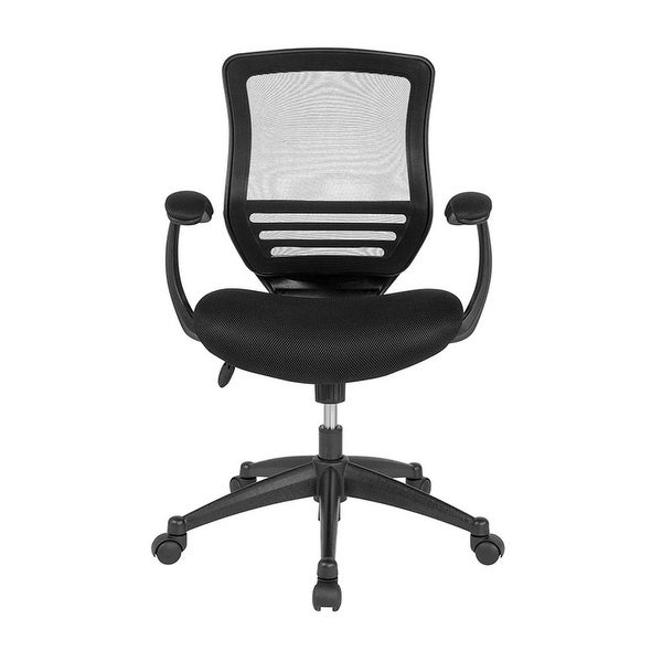Offex Mid-Back Black Mesh Executive Swivel Chair with Back Angle Adjustment, Molded Foam Seat and Curved Cushioned Arms