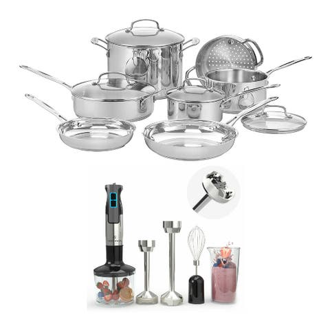 Cuisinart 77-11G Chef's Classic 11-Pc Cookware Set (Stainless) Bundle