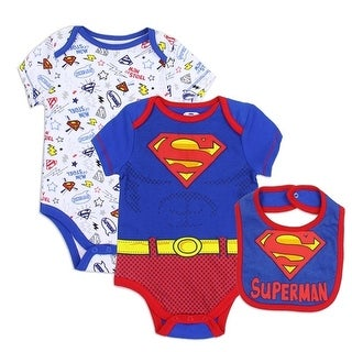 Superman Baby Boys Royal Blue Logo Comics Print 3 Pc Bib Bodysuit Set