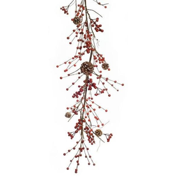 Festive Christmas Garland of Berries and Pine Cones 6'