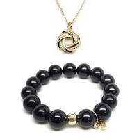 Black Onyx Bracelet & Love Knot Gold Charm Necklace Set