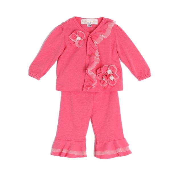 Isobella & Chloe Baby Girls Coral Long Sleeve Flower Ruffle 2 Pc Outfit