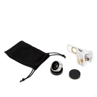 Camera Lens Kit for iPhone & other Smartphones - 180° Fisheye Lens, Macro Lens, Wide Angle Lens & a Universal Clip (White)