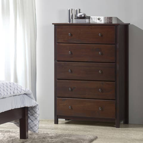 Grain Wood Furniture Shaker 5-drawer Cherry Solid Wood Chest