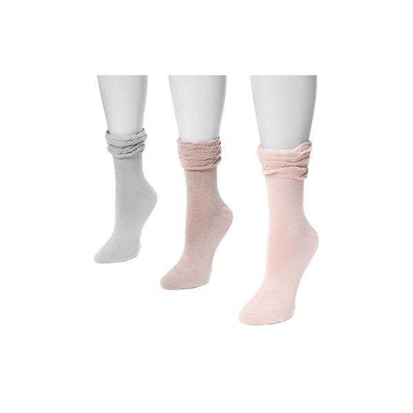 Muk Luks Socks Womens Ruffle Microfiber 3 pack One Size - One size