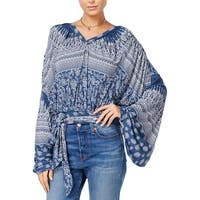 Free People Womens Pullover Top Kint Printed