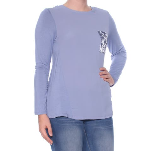 NY COLLECTION Womens Blue Textured Long Sleeve Jewel Neck Top Size S