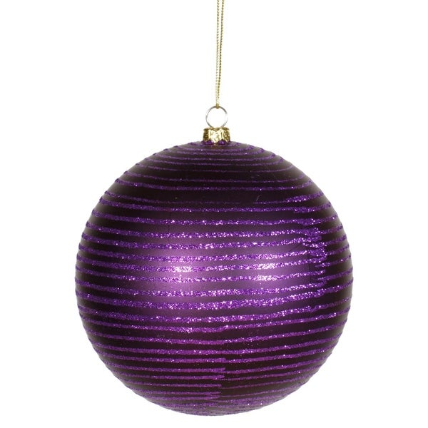 "Purple Passion Glitter Stripe Shatterproof Christmas Ball Ornament 4.75"" (120mm)"