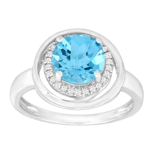2 3/8 ct Natural Swiss Blue Topaz & 1/10 ct Diamond Ring in 14K White Gold