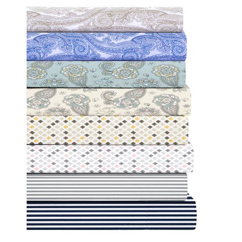 300 Thread Count Soft Percale Weave,100% Cotton, Deep Pockets Bed Sheet Sets Printed