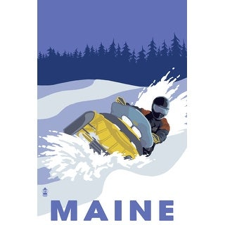 Maine - Snowmobile Scene - Lantern Press Artwork (100% Cotton Towel Absorbent)