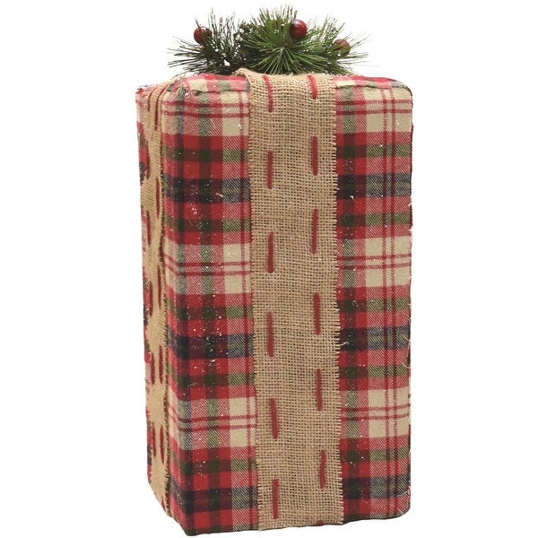 """14.5"""" Rectangular Red, Brown and Green Plaid Gift Box with Pine Bow Table Top Christmas Decoration - RED"""