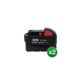Replacement 9000mAh Battery for Milwaukee 2653-20 / 2720-22 / 2762-20 Power Tools (2 Pk)