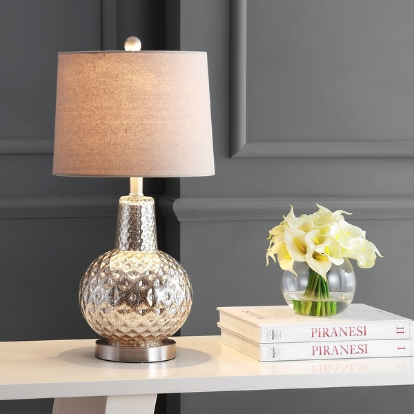"""SAFAVIEH Lighting Atlas 24-inch Glass LED Table Lamp - 12"""" W x 12"""" L x 24"""" H. Opens flyout."""
