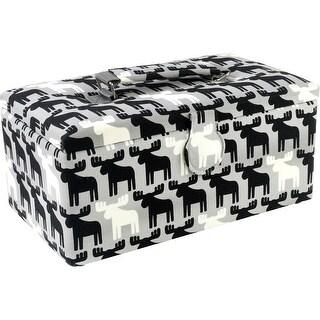 "Sewing Basket Rectangle-11.5""X6.5""X5"" Black & White Moose Print"