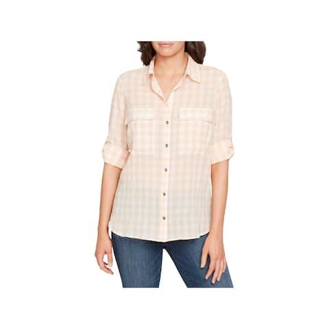 William Rast Womens Dalila Button-Down Top Plaid Cotton