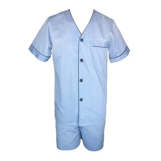 Majestic International Men's Cotton Easy Care Short Pajama Set - Blue