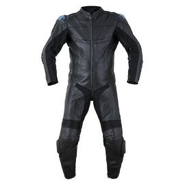 Motorcycle Biker Original Drum Dyed Cowhide 1-Piece Race Suit CE Armor Black RS3