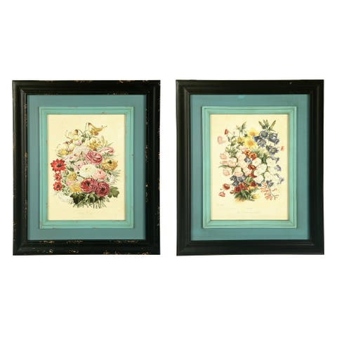 Vintage Reproduction Floral Wall Decor with Distressed Double Frame (Set of 2 Styles) - Cream