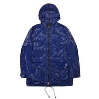 Gucci Mens Navy Blue High Shine Utilitarian Raincoat