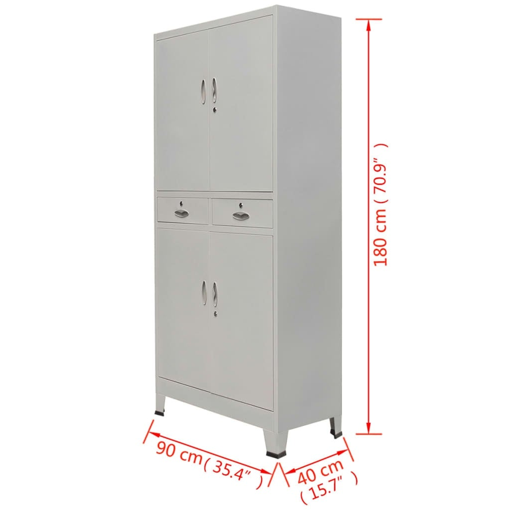 180cm Home Office Filing Cabinet Metal Cupboard Furniture Organiser with 2Drawer
