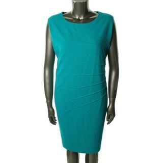 Calvin Klein Womens Plus Wear to Work Dress Scoop Neck Shutter Pleat - 22W