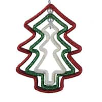 "5"" Nested Red, Green and White Glittered Tree Christmas Ornament - multi"