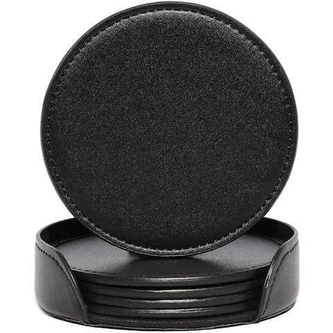 "6pcs Black PU Leather 3.9"" Round Drink Coasters Coffee Cup Mat Pad with Holder"