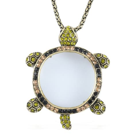 """Gold Plating White Glass Multi Color Crystal Necklace Pendant Size 28"""" - Size 28''"""