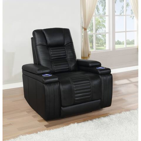 Zane Black Upholstered Dual Power Recliner