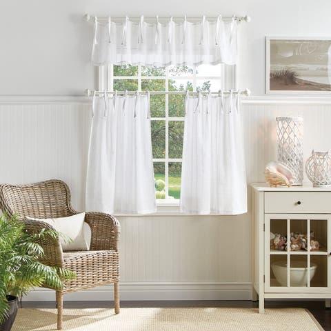 Martha Stewart Laguna Stripe 3-piece Curtain Tier and Valance Set
