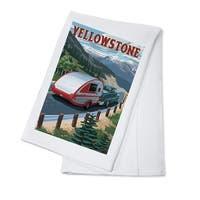 Yellowstone, MT - Retro Camper - LP Artwork (100% Cotton Towel Absorbent)