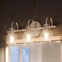 """Luxury Vintage Bathroom Light, 9""""H x 22""""W, with Industrial Style, Floating Glass Design, Aged Nickel Finish"""