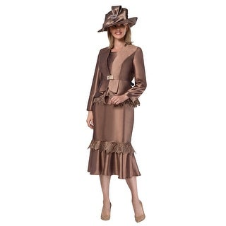 Giovanna Collection Women's 3-pc Organza Trimmed Skirt Suit