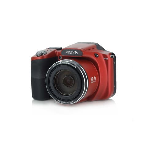 "Minolta 20 Mega Pixels High Wi-Fi Digital Camera with 35x Optical Zoom, 1080p HD Video, 3"" LCD (Red)"