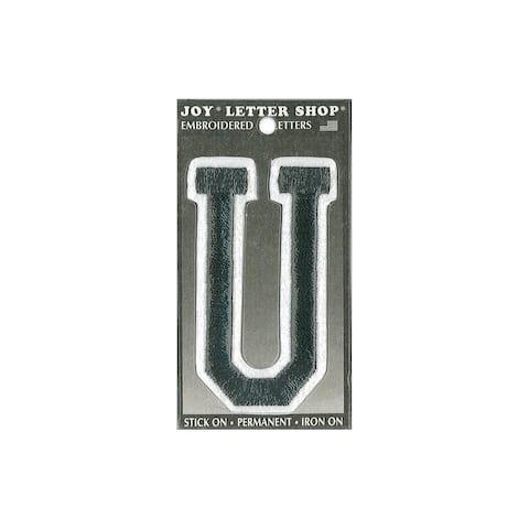 "Joy Applique Letter Iron On Varsity 3"" Black U"