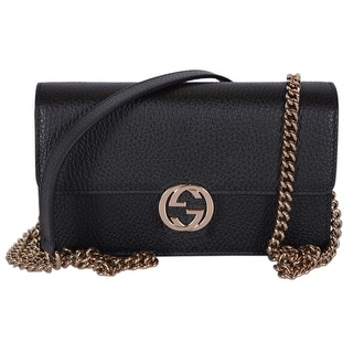 0dccc12fc39 Shop Gucci 510314 Black Leather Interlocking GG Crossbody Wallet Bag Purse  Clutch - 7.5