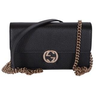 """Gucci 510314 Black Leather Interlocking GG Crossbody Wallet Bag Purse Clutch - 7.5"""" x 4.5"""" x 2"""""""