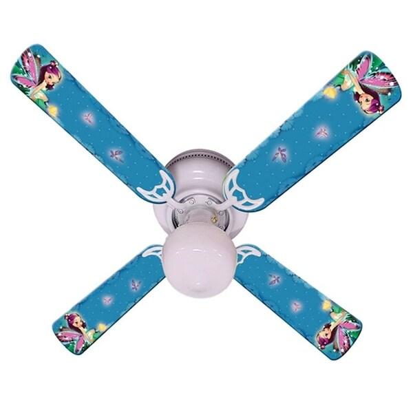 Purple Fairy Print Blades 42in Ceiling Fan Light Kit - Multi