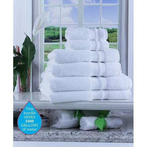 Enova Pure Green Cotton 6 Piece Hotel Towel Set, White
