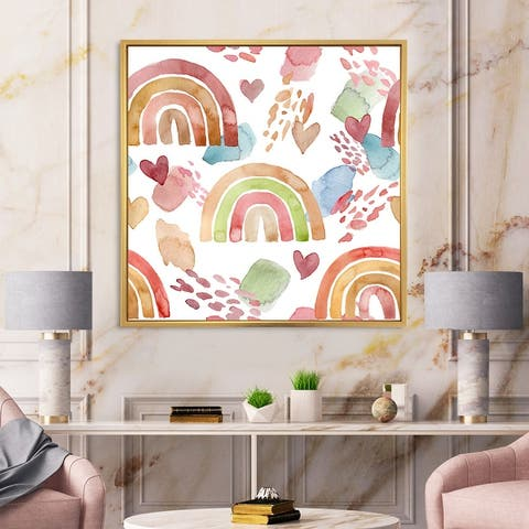 Designart 'Multicolored Rainbows Clouds and Hearts' Children's Art Framed Canvas Wall Art Print