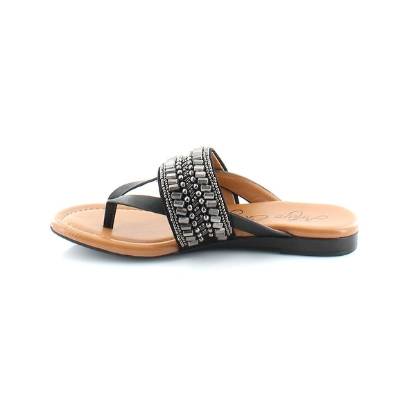 Arturo Chiang Womens Lyra Leather Split Toe Casual Slide Sandals