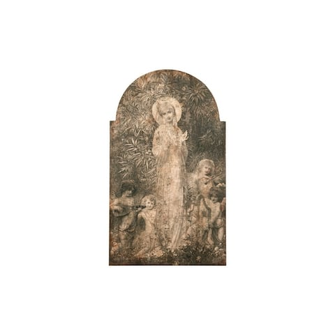 Vintage Reproduction of Lady in the Garden Image Wood Wall Decor - Distressed Grey