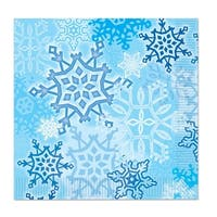 Club Pack of 192 Snow White and Blue Snowflake Christmas Disposable Luncheon 2-Ply Napkins 6.5""