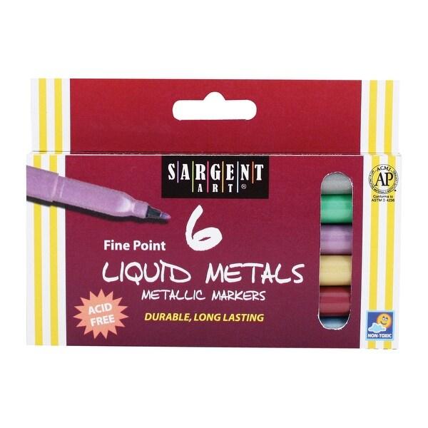 Sargent Art Fine Point Liquid Metal Metallic Markers - Set of 6 - Assorted Colors